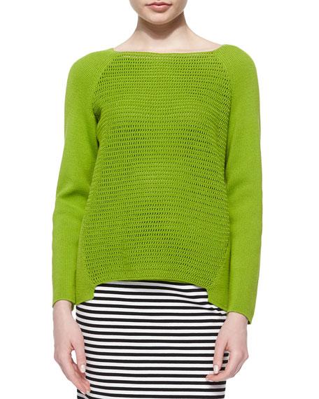 Lafayette 148 New York Open Weave Long-Raglan-Sleeve Sweater