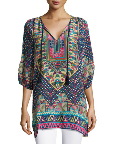 Stacey Silk Printed Long Tunic, Navy, Women