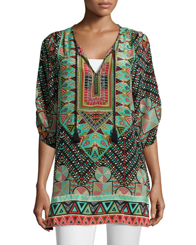 Stacey Silk Printed Long Tunic, Black, Women