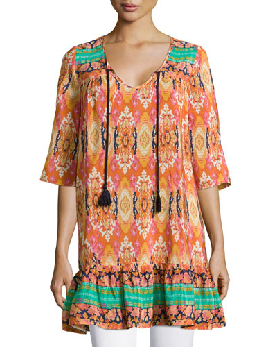 Devina Tie-Neck Printed Tunic/Dress, Women