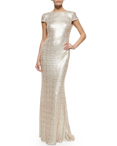 Badgley Mischka Cap-Sleeve Cowl-Back Sequined Gown, Pink Pearl