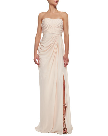 Badgley Mischka Strapless Draped High-Slit Gown