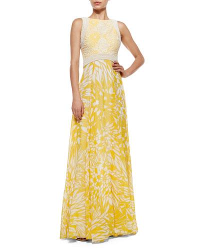 Sleeveless Crochet-Trim Printed Flowy Gown