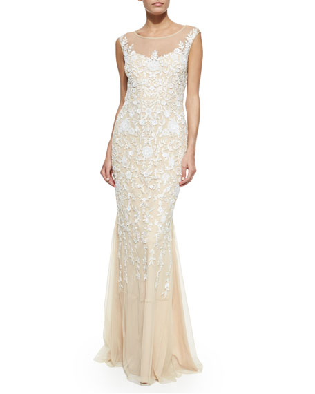 Badgley Mischka Floral-Embroidered Tulle Gown, Champagne
