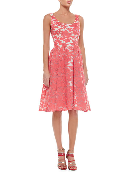 Badgley Mischka Sleeveless Embroidered Lace Party Dress