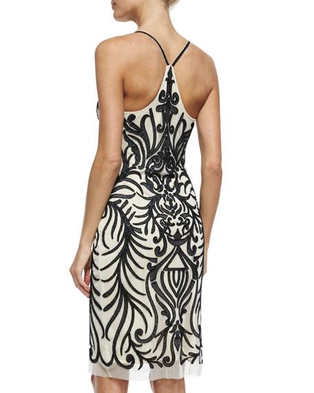 Embroidered-Mesh Racerback Sheath Dress w/ Beading, Black/White