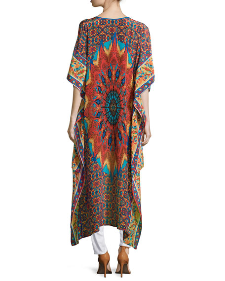 Mandira High-Low Printed Caftan Tunic, Women's