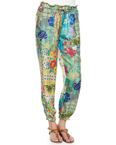Floral-Print Silk Georgette Pants