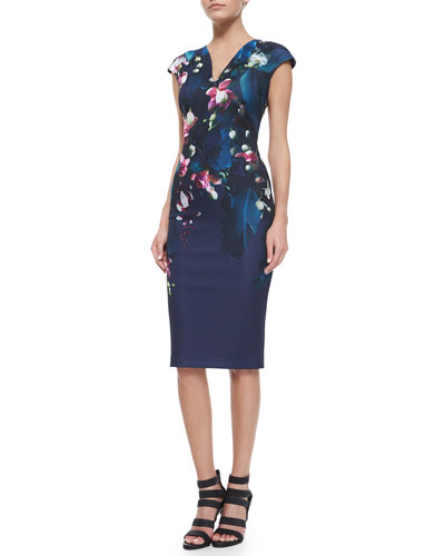 Antonya Floral-Print Sheath Dress, Black