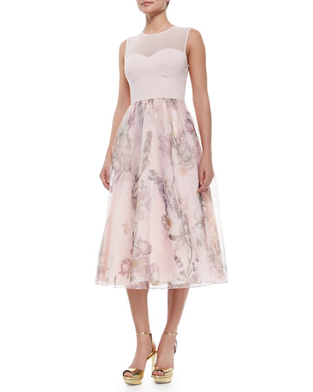 Ted Baker London Torchlit Floral-Print Combo Dress