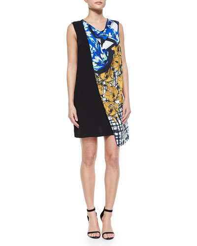 Shattered Garden Draped Printed/Solid Dress