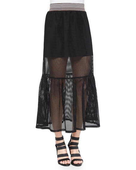 Clover CanyonSquare-Mesh Sheer/Solid Skirt