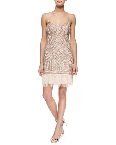 Beaded Cocktail Dress w/ Fringe Hem
