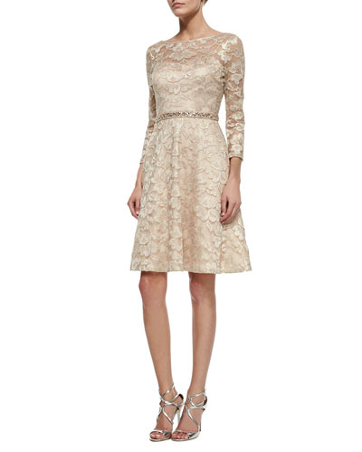 Long-Sleeve Lace Beaded-Waist Fit & Flare Dress