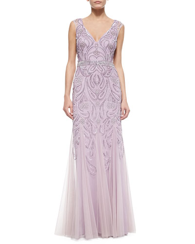 Sleeveless V-Neck Sequined & Beaded Godet Gown