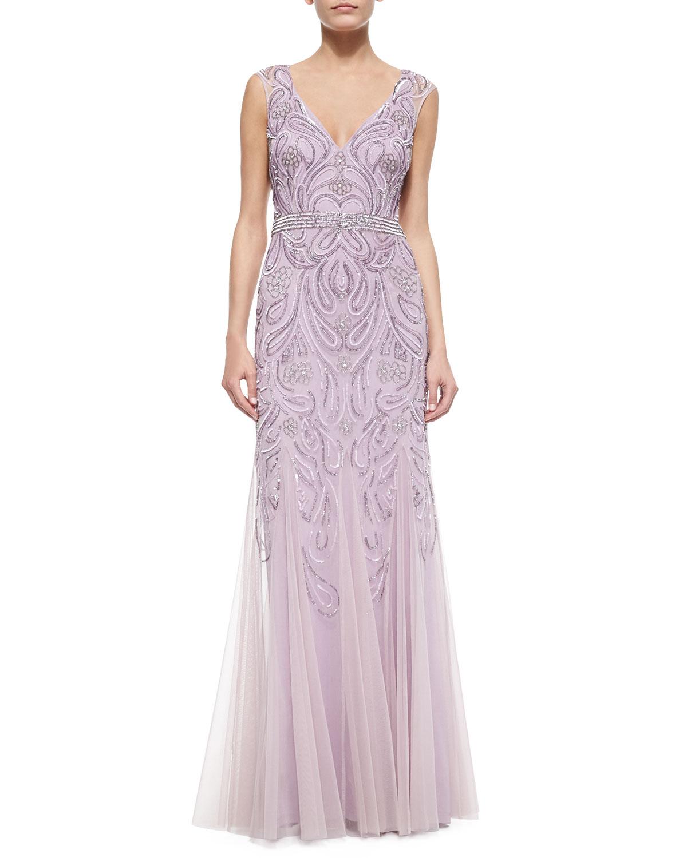 Aidan Mattox Sleeveless V-Neck Sequined & Beaded Godet Gown | Neiman ...