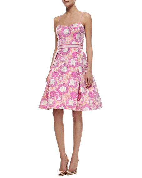 Aidan Mattox Spaghetti Strap Sweetheart Floral Jacquard Dress