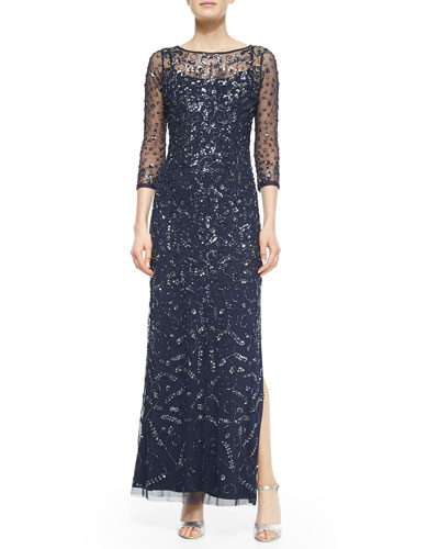 3/4-Sleeve Sequined & Beaded Column Gown
