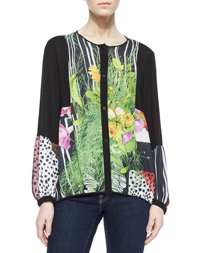 Mixed-Print/Solid Charmeuse Blouse