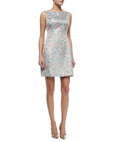Sleeveless Metallic Jacquard Cocktail Dress