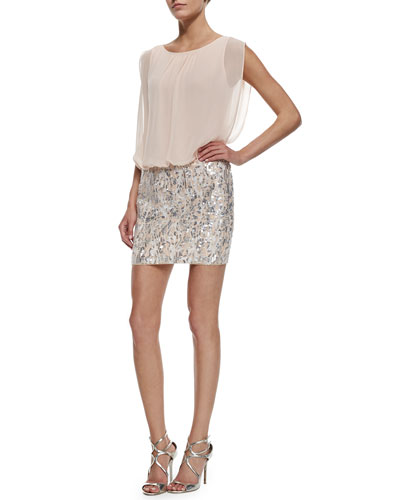 Boat-Neck Blouson Top & Sequined Skirt Dress