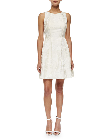 Sleeveless Jacquard Fit & Flare Dress