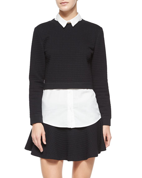 Alice + Olivia Faux-Layered Check-Embossed Sweater Top