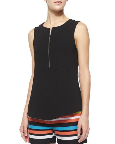 Dextra Sleeveless Zip-Front Knit Shirt