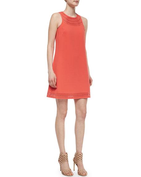 Trina Turk Lucia Shift Dress W/ Laser-Cut Detail