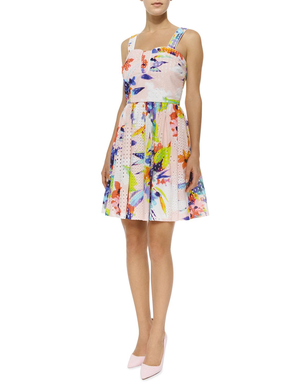 1742cf86506e Trina Turk Elin Floral-Print Eyelet Flare Dress