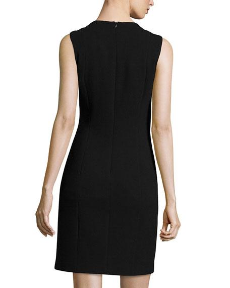 Sleeveless Combo Sheath Dress, Black