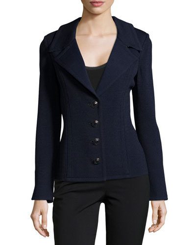 Santana-Knit Jacket W/Micro-Dot Lining, Navy Multi