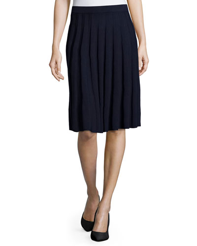 Santana-Knit Pleated Skirt, Navy