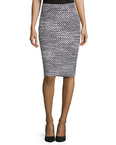 Mod-Check Pencil Skirt, Black/Bright White