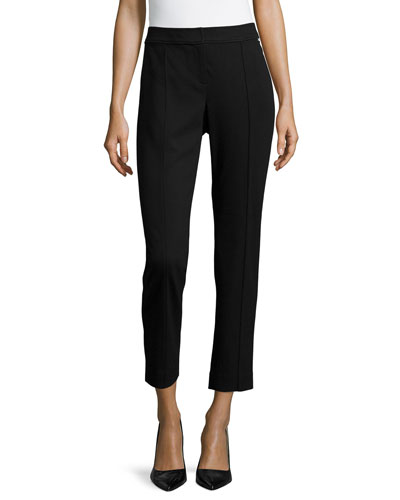 Skinny-Leg Cropped Ponte Pants, Black