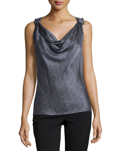 Sleeveless Cowl-Neck Micro-Dot Top, Navy/Bright White