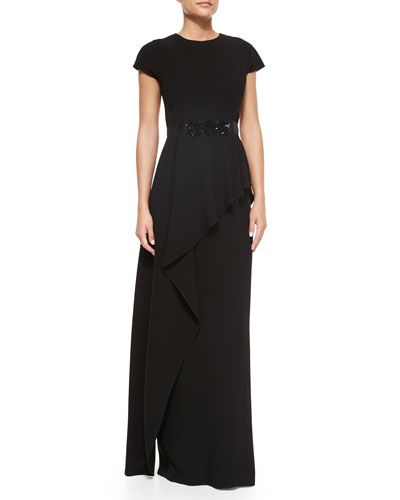 Short-Sleeve Belted Peplum Gown, Black