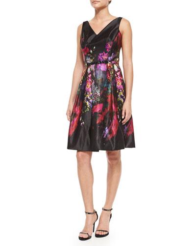 Floral-Print Fit-and-Flare V-Neck Dress