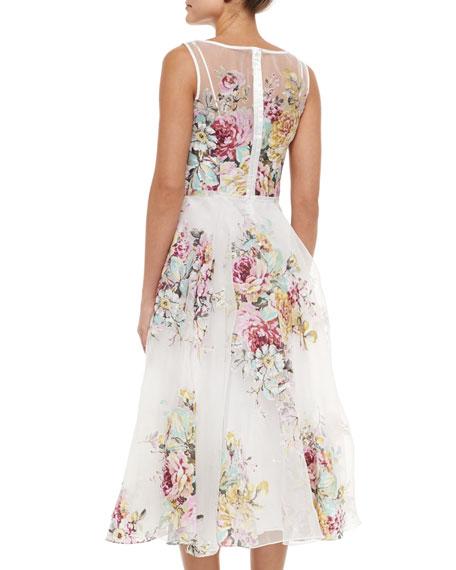 Floral-Print Crystal Embellished Dress