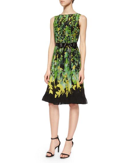 Sleeveless Floral Pintucked Dress