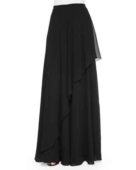 Rickie Freeman for Teri Jon Ruffle Draped Maxi Skirt