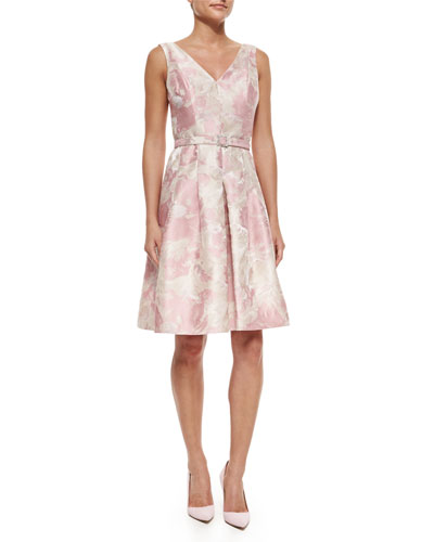 Floral Jacquard Belted Dress, Pink