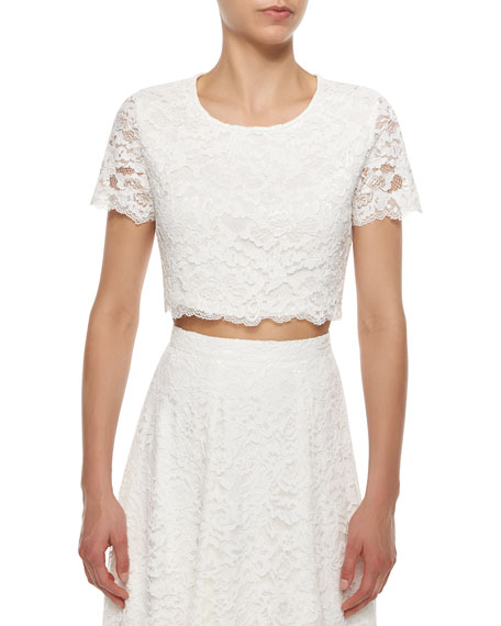 Haute Hippie LACE CROP TOP/ SWAN