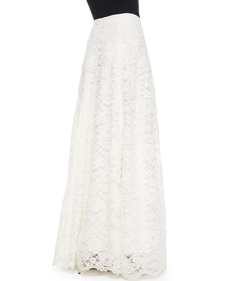 Haute Hippie High-Waist Rosette Lace Maxi Skirt