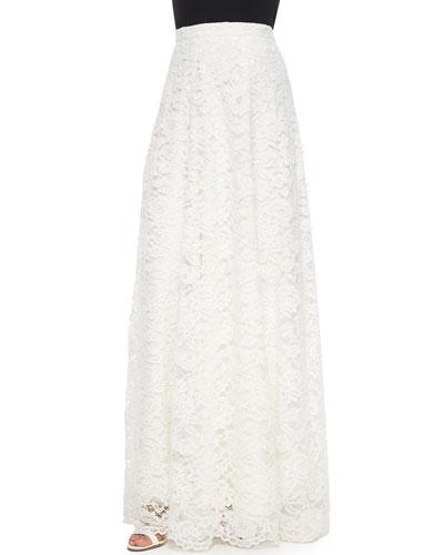 High-Waist Rosette Lace Maxi Skirt