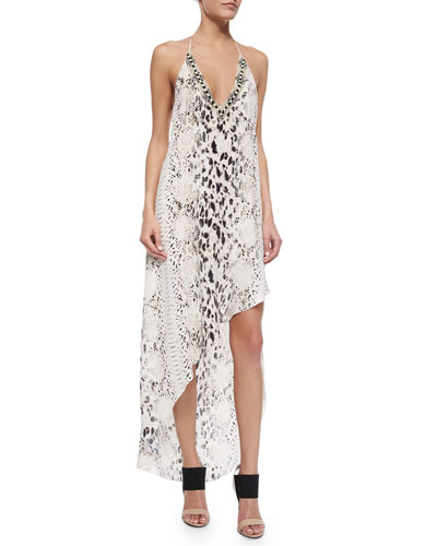 V-Neck Snake-Print Dress