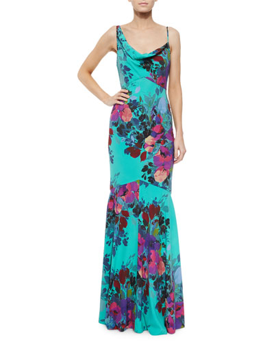Sleeveless Floral-Print Mermaid Gown