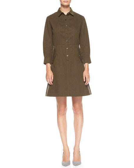 Suno Side-Stripe Cotton Utility Shirtdress