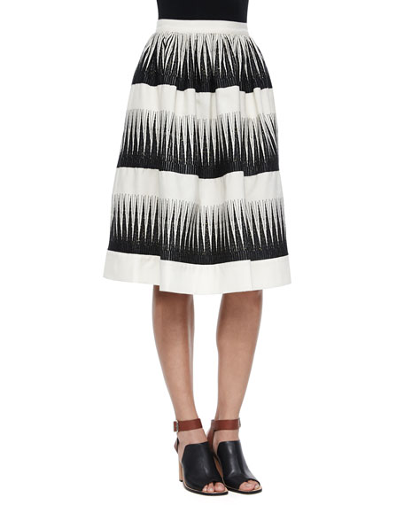 Striped Full Midi Skirt, Ivory/Black