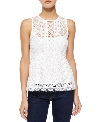 Lacy Crewneck Peplum Lace Top, White